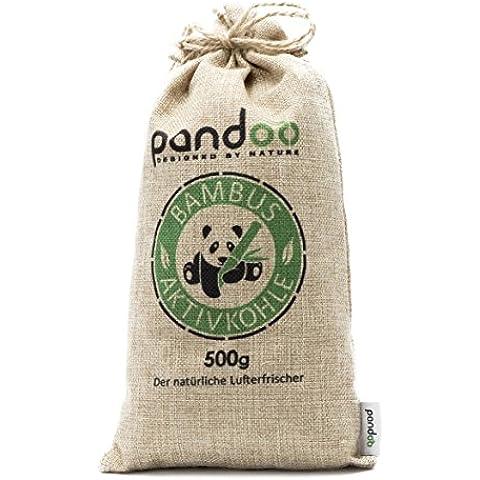 pandoo deodorante naturale al bambù con carbone attivo–Purificatore d'aria, Deumidificatore, purificatore d'aria per la stanza, detergente e deodorante–assorbe gli odori e Filtra gli Allergeni e gli inquinanti–per auto, bagno, cucina, WC, Scarpe, ecc.–utilizzabile fino a 2anni, privo di chimica e inquinanti e 100% biodegradabile, sabbia, 500 g