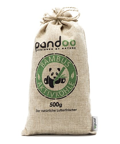 pandoo ♻ 500g natürlicher Bambus Lufterfrischer mit Aktivkohle - Luftreiniger, Luftentfeuchter, Lufttrockner, Raumluftreiniger & Raumerfrischer - absorbiert Gerüche & filtert Schadstoffe und Allergene - Für Auto, Schlafzimmer, Wohnzimmer, Keller, Küche, WC, Bad, usw. - 2 Jahre verwendbar, frei von Chemie und Schadstoffen & 100% biologisch abbaubar