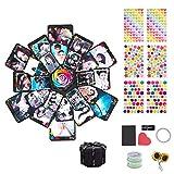 Kreative Überraschung Box Explosions Box,Hexagonal DIY Faltendes Fotoalbum,Handgemachtes Scrapbook Zubehör,Geburtstag Jahrestag Valentine Hochzeit Geschenk,Schwarz(Klein)