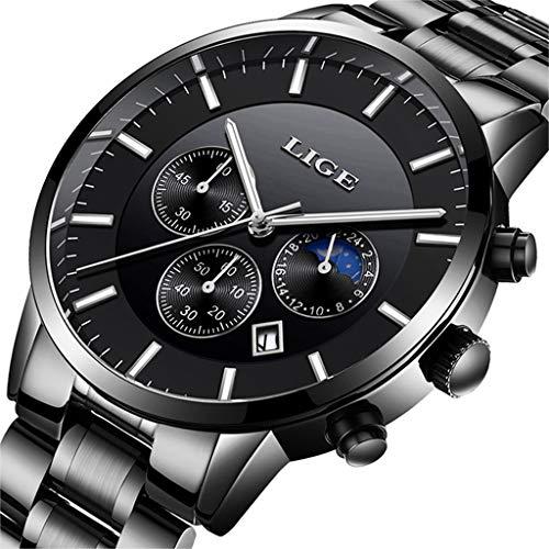 cbb2b59b8df3 LIGE Mens Relojes Moda Impermeable Sprots Reloj de Cuarzo Analógico Hombres  Negro Acero Inoxidable Cronógrafo Calendario
