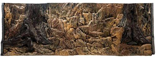 Aqua Maniac 3D Aquarium-Hintergrund Rock und Wurzel mit Belüftungsöffnungen in zwei Abschnitte, Polyresin (nicht Schaumstoff), 4–6cm dick, Einzigartige Aqua Decor Aquarium Baumstamm Mit Wurzeln