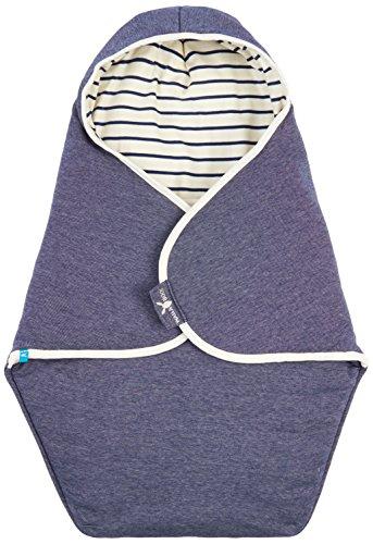 Wallaboo Einschlagdecke Coco, Sehr praktische und Kuschelweiche Babydecke, 100% Baumwolle, 90 x 70 cm, Farbe: Blau Gestreift / Misty