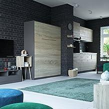 SMARTBett Cama plegable 160 x 200 cm vertical resortes de gas cama plegable & cama de pared sin colchón (Roble sonoma /Blanco frente brillante)