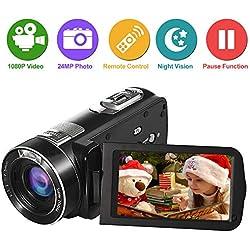 """LongOu Camescope Camescope Numerique Caméra Vidéo Full HD 1080p 24.0MP 18x Zoom Numérique 3.0 """"ACL Écran à rotation de 270 °avec Télécommande"""