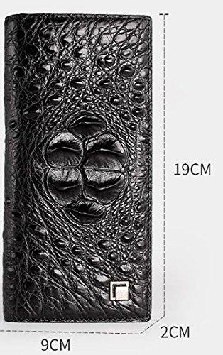 lpkone-Motif Crocodile wallet grand zip autour de portefeuille loisirs hommes nouveau clip argent exclusive wallet Black A