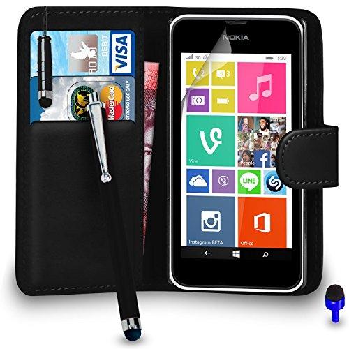 Nokia Lumia 530 Prämie Leder Schwarz Brieftasche Flip Fall Abdeckung Beutel + Mini & Big Stylus Pen + Blau 2 IN 1 Staubstopper + Bildschirm Beschützer & Polieren Tuch BY SHUKAN®, (Brieftasche Schwarz) Handy-fall Nokia Lumia 530
