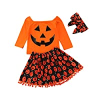 Taiduosheng Halloween Dress Toddler Baby Girls Pumpkin Cotton Print Long Sleeve Tops+ Skirt +Handbands Outfit Set 110 Orange