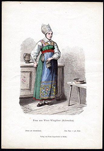 Grafik Frau aus West-Wingaker - Schweden Sweden Tracht Trachten costumes graphic