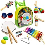 Tomi Music – 18 teiliges Musikinstrumente Set für Kleinkinder, Vorschulkinder, Kinder und Babys – Holzschlaginstrumente für Spiel und Rhythmus, Xylophon, Trommel – fördert die frühe Entwicklung