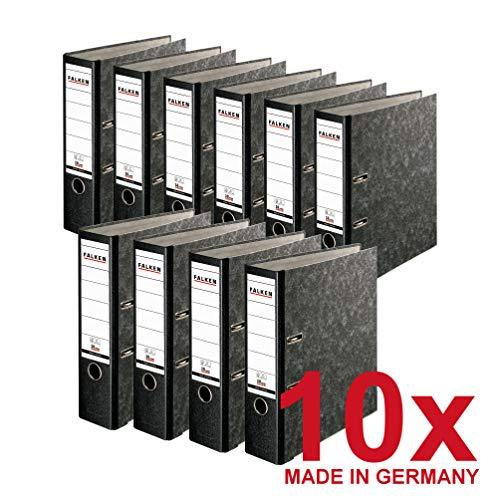 Falken 10er Pack Recycling Plus Ordner Wolkenmarmor 8 cm breit DIN A4 schwarzer Rücken mit Wechselfenster Ringordner Aktenordner Briefordner Büroordner Pappordner Schlitzordner