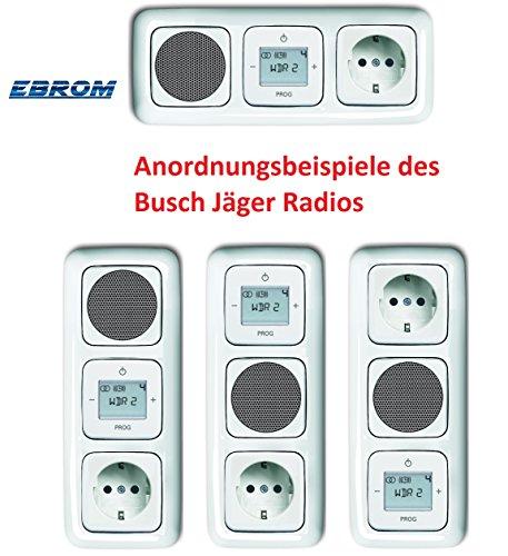 Preisvergleich Produktbild Busch Jäger Unterputz UP Digitalradio 8215 U (8215U) alpinweiß Komplett-Set Reflex SI Lautsprecher + 20EUC-214 Steckdose + Radioeinheit in 3 fach Rahmen integriert