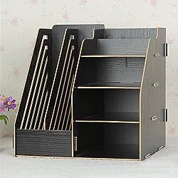 Hensych® organizador de madera de escritorio, estante de almacenamiento, 2ranuras para archivos de papel /revistas y 4compartimentos, color negro