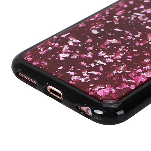 iPhone 6 Plus Schutzhülle, iPhone 6S Plus Glitzer Hülle Rosa Schleife Ultra Dünn Silikon Schwarz Handyhülle Backcover Glitzer Sequins Protective Case Rück Schale Bumper für iPhone 6 Plus / 6S Plus Lil Rot