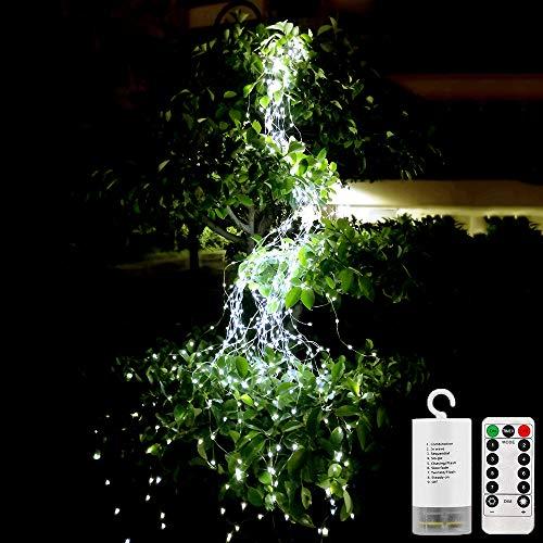 Wasserdichte Dekorative Wasserfall-String-Leuchten, 10 Strands 200 Leds Hanging Twinkle Fairy Lights Batterie mit Remote Timer Silver Wire Timbo Starry Lights für Outdoor, Garten, Weihnachtsbaum (Outdoor Light Remote)