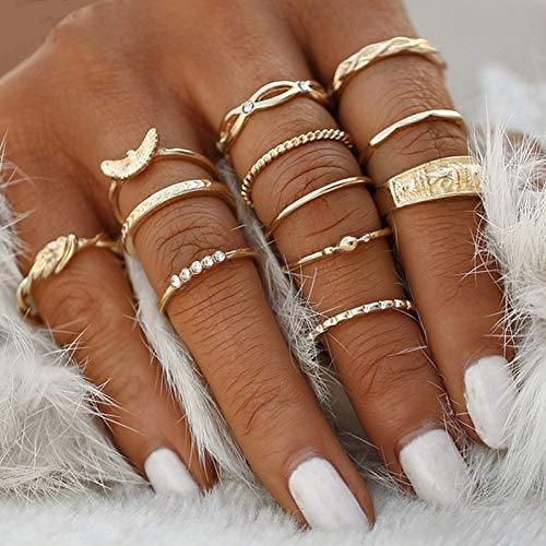 WZYMNJZ 12 Stücke Knuckle Ring Set Für Frauen Rose Gold Fingerringe Für Frauen Kristall Ring Punk Schmuck Eheringe Frauen Geschenke