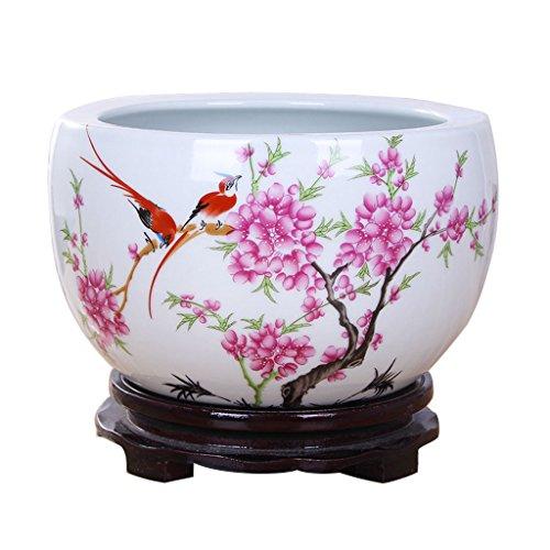 Unbekannt BOBE Shop Keramischer Blumen-Topf der chinesischen Art kein Behälter/Wasserkultur-saftiger Blumentopf/Innentischplatten-Dekorations-Behälter (größe : L) -