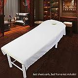 SUPEWOLD Massage Bed Sheet, Kosmetik-Bed Sheet Cover Spa Massage Bett Tisch Bezug Blatt mit Loch Beauty Kosmetik Massage Schwamm Spannbetttuch, weiß, 80cmx190cm