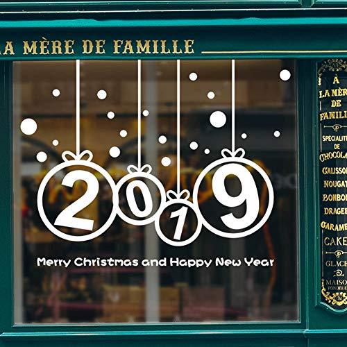 nese New Year Dekoration Wandaufkleber 2019 Digital New Year Schaufenster Glas Aufkleber(H01 White) ()