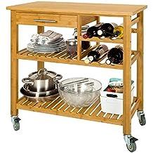 SoBuy®Carrito de servir, estantería de cocina, carrito de cocina móvil,FKW23-N,ES