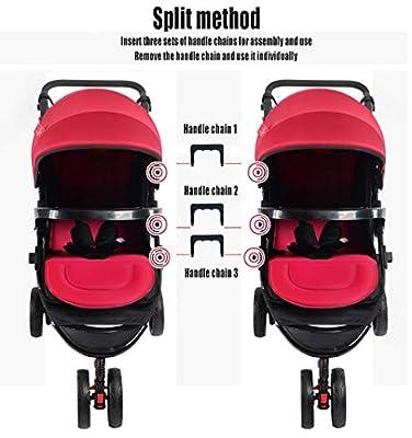 Sunzy Cochecito Doble, Cuatro Estaciones Desmontable Plegable Amortiguador Cochecito de bebé Adecuado para recién Nacido