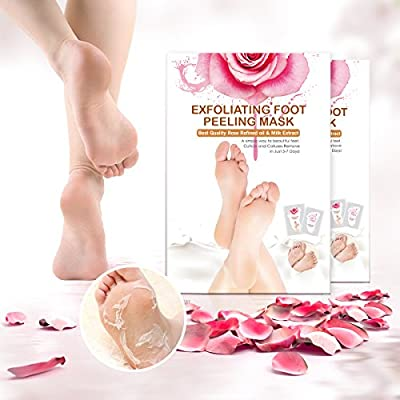 2 Pairs Rose Foot Mask, LuckyFine Exfoliating Foot Mask Remove Calluses & Dead Skin Cells, Rose Scented, Peel second day, Completely within 4-7 days