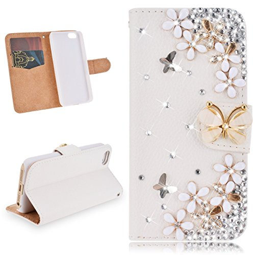 SMARTLEGEND Cassa del Raccoglitore per iPhone 5 5G 5S / iPhone SE PU Leather Caso Book Style Custodia Bling Diamond Bella Fiori Case Cover Strass Diamante pelle Protettiva Flip Case Magnet Travel Wall Bella Fiori
