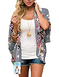 f2c8d852ba Digitek Direct Women Chiffon Loose Shawl - Chiffon Floral Print Kimono  Cardigan Cover Up Boho Summer