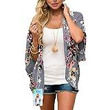 Womens Cover Up - Floral Chiffon Beachwear Summer Bohemian Beach Swimwear Ladies Blouse Loose Half Sleeve Casual Bikini Cardigan Swimsuit (Darkgrey, Medium)