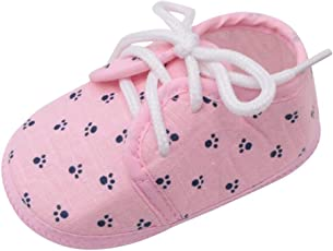 Voberry@ Voberry@ Baby-Girl's Newborn Cotton Footprint Printed Lace-up Walking Anti-Slip Soft Sole Crib Shoes