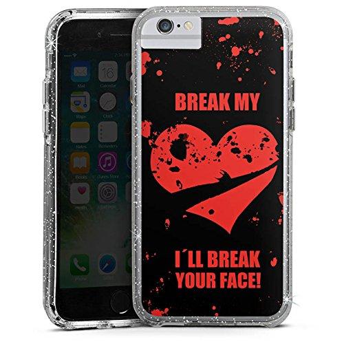 Apple iPhone 7 Bumper Hülle Bumper Case Glitzer Hülle Heart Herz Heartbroken Bumper Case Glitzer silber