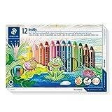 Staedtler 140 C12 ST 3in1 Buntstift buddy (Bunt-, Wachsmal- und Aquarellstift, extra bruchsicher, ideal für Kinder, für viele Oberflächen, Kartonetui mit 12 Farben inkl. Spitzer)