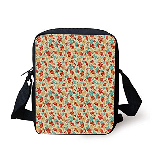 Leaf,Autumn Spring Time Vivid Flowers Berries Buds Abstract Image,Turquoise Salmon Red and Orange Print Kids Crossbody Messenger Bag Purse - Rainbow Light Berry