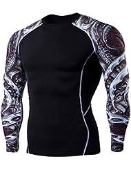 Wenyujh Homme Shirt Sport Manches Longue Imprimé Floral Fashion Séchage Rapide Respirant Fitness Musculation Cyclisme