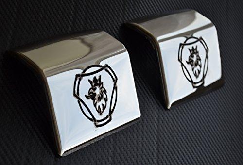 Preisvergleich Produktbild 2x Spiegel Edelstahl Metall Mudguard Slot Trim für Scania Spiegel Metall Edelstahl Mudguard Slot Trim für Scania Serie R P G T EURO 345& 6