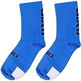 2 pares de calcetines, calcetines de algodón al aire libre para el ciclismo, ciclismo, escalada, senderismo, esquí, senderismo o deportes de montaña utilizado para el hombre y la mujer (Blue)