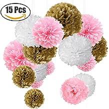 """Pompon or Pompon papier soie papier fleur pompon boule à suspendre 6"""",10"""",12"""" décor mariage fête Anniversaire happy birthday Lot de 15 Or"""
