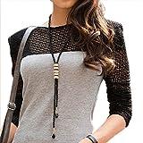 Collana lunga da donna alla moda con strass e ciondoli, colore: nero