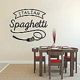 Cmdyz Italienische Küche Wandaufkleber Spaghetti Vinyl Wand Fenster Aufkleber Restaurant Pasta Design Wall Poster Küche Essen Decor Größe 57 * 49 Cm