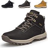 Uomo Scarpe da Trekking Stivali da Escursionismo in Pelle Impermeabile Antiscivolo Outdoor Sneakers per Viaggiare, Campeggio Cotone Marrone 42EU