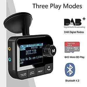 Blufree-Bluetooth-FM-Transmitter-Car-Radio-Adapter-Bluetooth-MP3-Music-Receiver-Handsfree-Car-Kits-Bluetooth-Transmitter-for-Car-with-USB-ChargerSD-CardUSB-DiskVoltage-DetectionNoise-Reduction