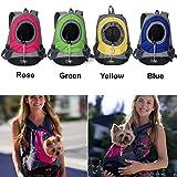 AsiaLONG Hundetasche Rucksack Atmungsaktive Haustier Rucksäcke mit Straps Netzfenster Hundetragetaschen für Kleine Hunde und Mittelgrosse Hunde Reise Umhängetasche (S, Blau) - 2
