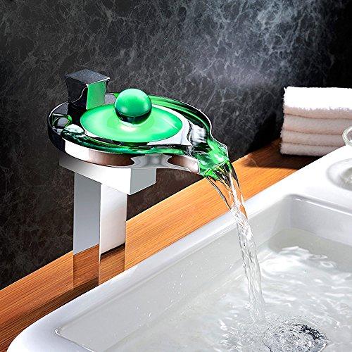 Homelody – Hohe Wasserfall-Waschtischarmatur, Einhebel, LED-Beleuchtung, Verbrühschutz, Chrom - 4