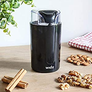 Wido Electric Coffee Grinder Herb Bistro Spice Nuts Seeds Stainless Steel Blades 200W 75G by Wido