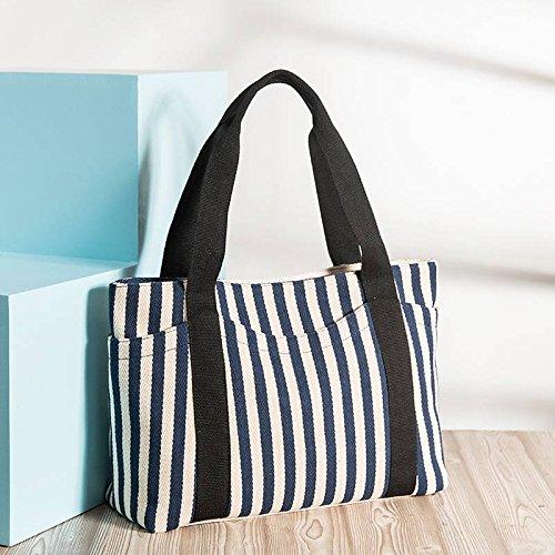 Fashion Handtaschen Gestreifte Umhängetasche Dicken Leinwand Tasche Multi-Beutel Weibliche Hand Mama Big Bag , Preußischblau (Handtasche Blau Gestreifte)