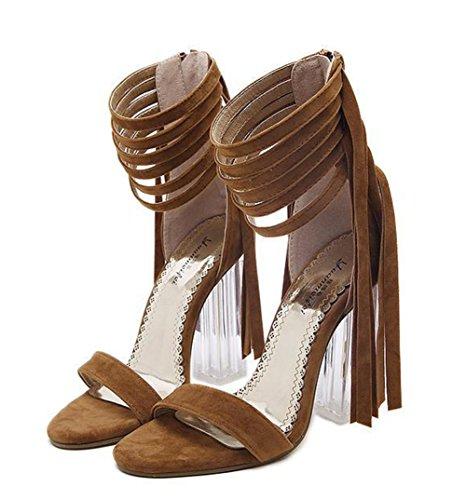 Aisun Damen Fashionable Troddel Offene Zehen Sandalen Mit Reißverschluss Braun