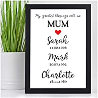 PERSONALISED Memorable Dates Gifts for Her, Mummy, Mum, Nanny from Son, Daughter, Children - Custom Mothers Day, Birthday Gifts for Her - Black or White Framed A5, A4 Prints or 18mm Wooden Blocks