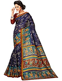 Applecreation Women'S Silk Saree With Blouse Piece(Silk Sarees For Women Party Wear B8755B_Blue_Free Size)