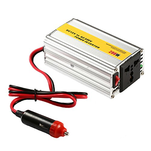 Power Inverter,KOMRT 200W Inverter DC 12V to 220V AC Converter with AC Outlet and One USB Port Power Supply, Silver