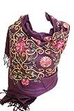 Premium Lush bordado pashmina sentir bufandas mantón estola envolver cabeza bufanda (Púrpura)