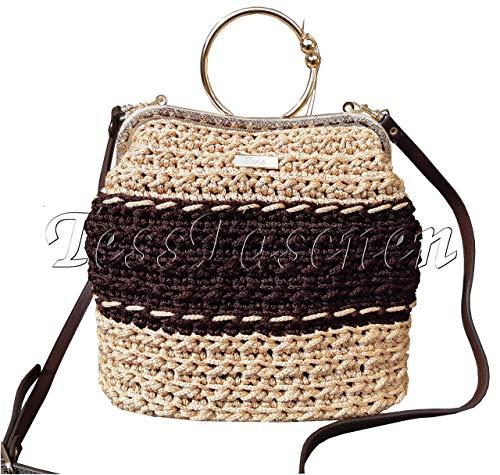 Damen Vintage braune - goldene Handtasche, Umhängetasche mit Muster, Gestrickte Taschen mit Clipverschlüss Kisslock und quer Schulter Designer Handtaschen mit Metallrahmen - Hippie Vintage Tote